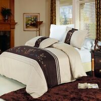 3pc Beige/Gold/Choco/Blue Embroidered 300TC Egyptian Cotton Duvet Set King CKing