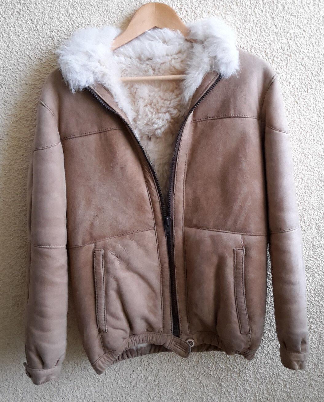8c067e28435157 Hellbraune Wildleder-Jacke Echt-Lammfell-Futter- Größe 36 mit  nsuulf6709-neue Kleidung