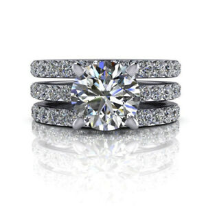 2.55 Ct Round Real Moissanite Engagement Ring 18K Solid White Gold ring Size 9.5