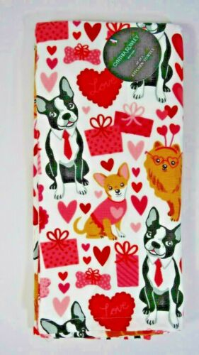 Cynthia Rowley Valentines Day Dogs Love Presents Kitchen Towel 2Pc Holiday Gift