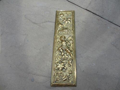 Antique Brass Finger Plates Push Door Handle Urn Old Leaf Fruit Cherub Bird