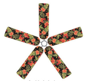 ceiling fan blade fabric cover tropical hibiscus 5 decorative pieces home decor ebay. Black Bedroom Furniture Sets. Home Design Ideas
