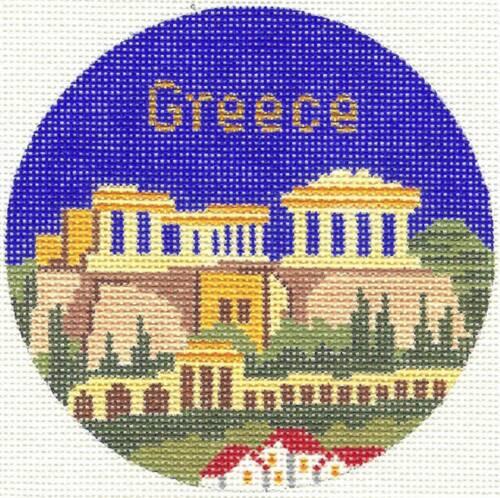 "Silver Needle GREECE Greek handpainted 4.25/"" Rd Needlepoint Canvas Ornament"