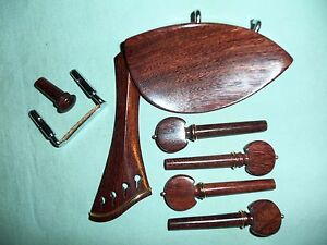 Tamarind Wood Fitting Set - TEKA - Chinrest & Hill Tailpiece Pegs End Pin