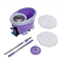Spining Mop Bucket System And Complete Swivel Rotating Magic Mop 2 Mop Heads HT