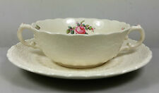 SPODE'S JEWEL BILLINGSLEY ROSE CREAM SOUP COUPE / CUP AND SAUCER