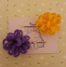 Handmade set of two yellow and purple felt flower bobby pin hair clips