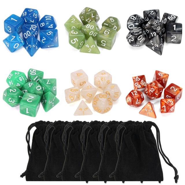 42 Pcs Polyhedral Board Game Dice RPG MTG 6 Sets 4D 6D 8D 10D 12D 20D + 6 Pouch
