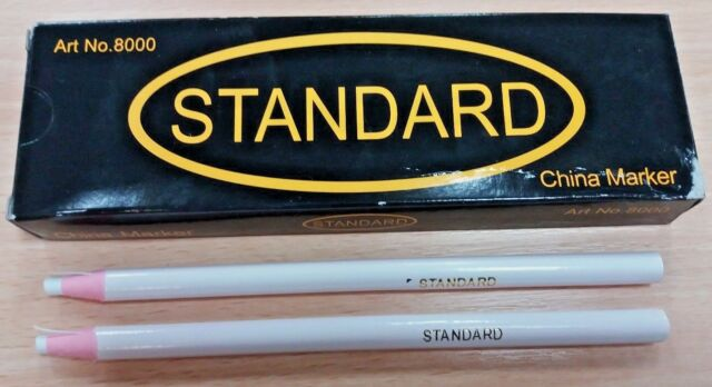 6 GOOD QUALITY WHITE CHINAGRAPH CHINA MARKERS PENCILS WRITE ON METAL PLASTIC UK