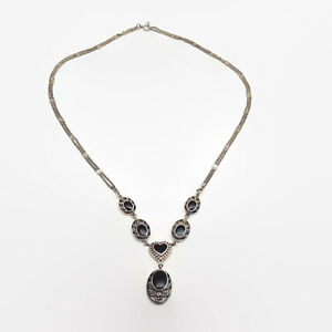 Sterling-Silver-And-Black-Onyx-Cabochon-Necklace