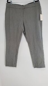 A New Day Womens Black And White Stretch Pull On Skinny Ankle Pants Size 8 R