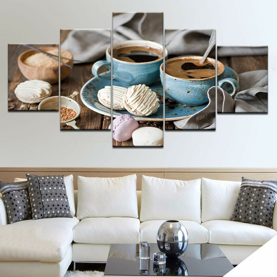 Coffee Cup Macaroons Cake 5 Panel Canvas Print Wall Art