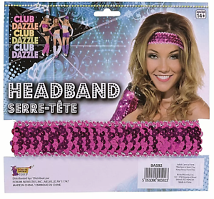 80s Bright Pink Sequin Headband SAME DAY Birthday Hen Stag Adults Kids Party UK