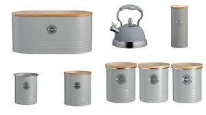 Grey-Storage-Tins-Bread-Bin-Typhoon-Living-Metal-Tea-Coffee-Sugar-Spaghetti