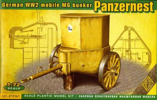 Ace Models 1//72 German World War II PANZERNEST Mobile Machine Gun Bunker