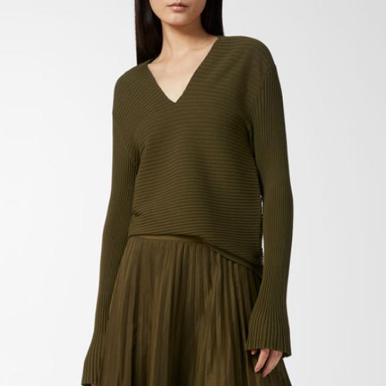 ARKET Rib Knitted Jumper Olive Grün Größe - MEDIUM