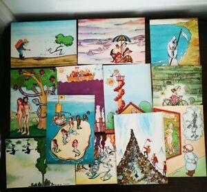 Rare-1979-Ahimsa-Collection-De-12-Cartes-Postales-ECOLOGIA-Illustrees-Picanyol