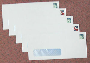 100 #10 LEFT WINDOW White Wove Gummed Envelopes with 55¢ and/or Forever Stamps