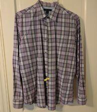 Men's Banana Republic Casual Button Down Shirt, Purple Plaid, Large