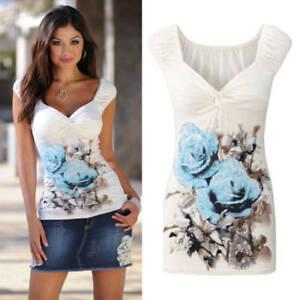 75a415a4081e8c Details about Fashion Women s V Neck Floral Vest T-Shirt Summer Beach  Casual Tank Tops Blouse