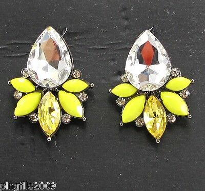 Fashion Handmade Crysta/Glass Bling Rainbow Ear Dangle Stud Earrings 2.7cm E379
