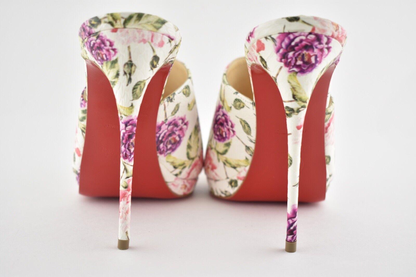 NB Mule Christian Louboutin Pigamule 120 Weiß Pink Floral Mule NB Sandale Heel Pump 40.5 b17be8