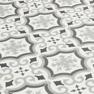 grey moroccan tile effect sheet vinyl flooring patterned