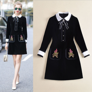 Womens bowknot turn-down collar embroidered Party dress knee length Mini Skirt
