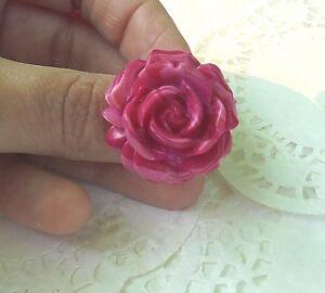 BAGUE-fleur-ROSE-degrade-de-3-ROSES-en-Fimo-Bijou-Neuf-amp-Unique-Taille-Ajustable