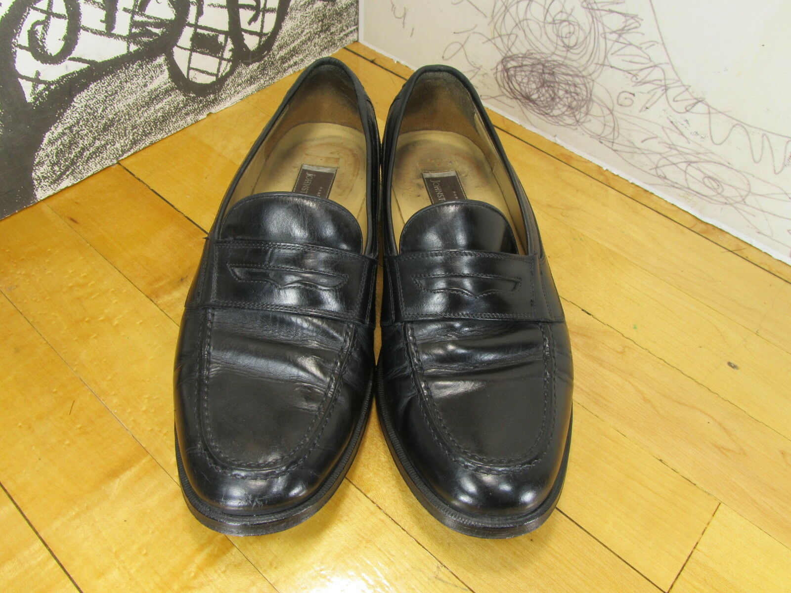 Johnston & Penny Murphy Handcrafted Black Leather Penny & Loafers Men's 9.5D Italy 7083e1