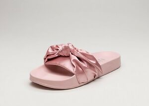 new product b04e4 73f15 Details about Puma Fenty by Rihanna Satin Bow Slide in Silver Pink 6.5
