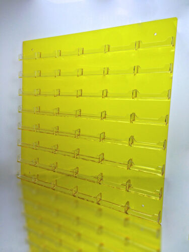 48 Pocket Transparent Yellow  w// Clear Business Card Holder Acrylic Wall Rack