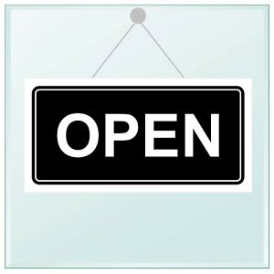 Open / Closed double sided window sign with suckers all colours 15cm x 30cm 9681