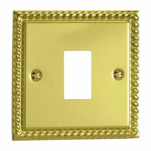 plaque unique Varilight xgpgy 1 Géorgien Laiton Poli 1 Gang Powergrid plaque