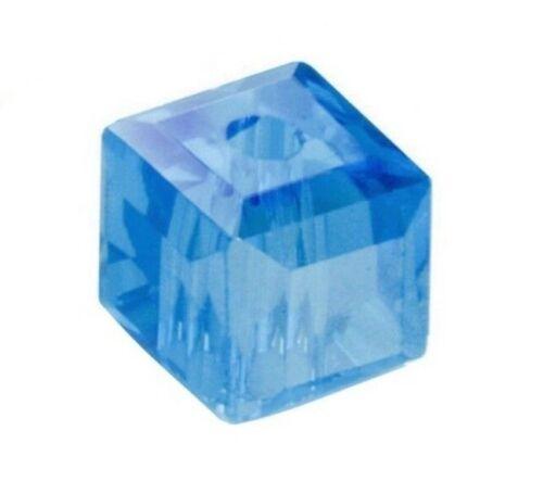 20 Glasperlen 6mm Würfel Blau Schmuckperlen Tschechische Kristall Perlen X264