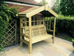 Solid 3 seater garden arbour tanalised outdoor bench for Hardwood garden furniture