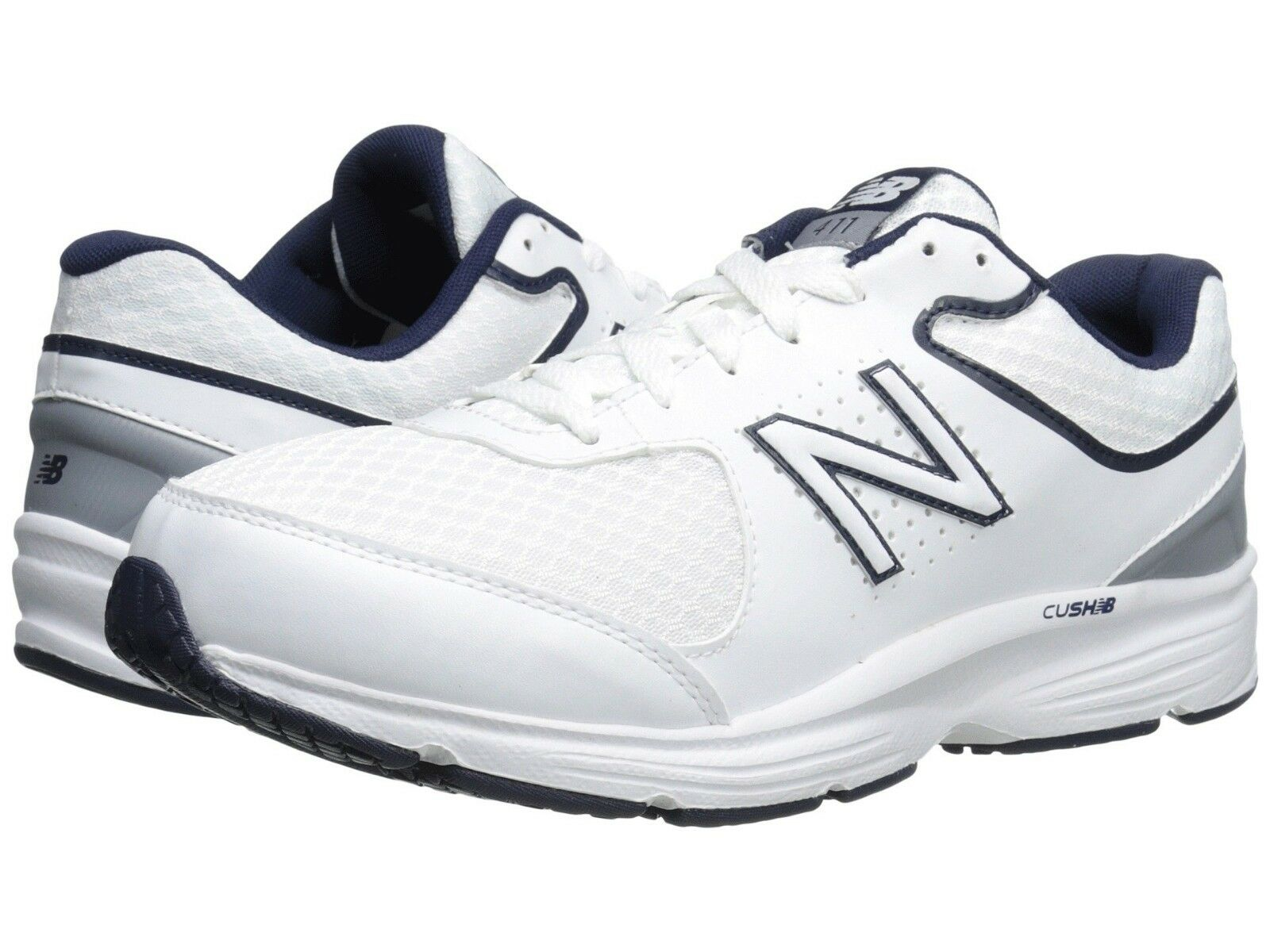 NEW Mens New Balance MW411v2 White bluee Leather A5500 Lace Up Walking shoes