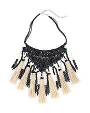 NEW Dramatic w/Tag Chico's Large Black/White Camile Tassel Bib Necklace $89.00