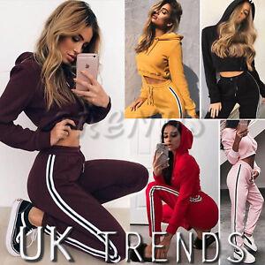 UK-Womens-2-PCS-Hooded-Striped-Loungewear-Set-Tracksuits-Ladies-Trousers-Size614
