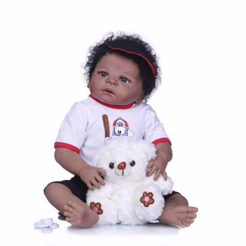 "22/"" Ethnic Biracial Reborn Baby Doll Curly Black Hair Newborn Boy Full Vinyl"