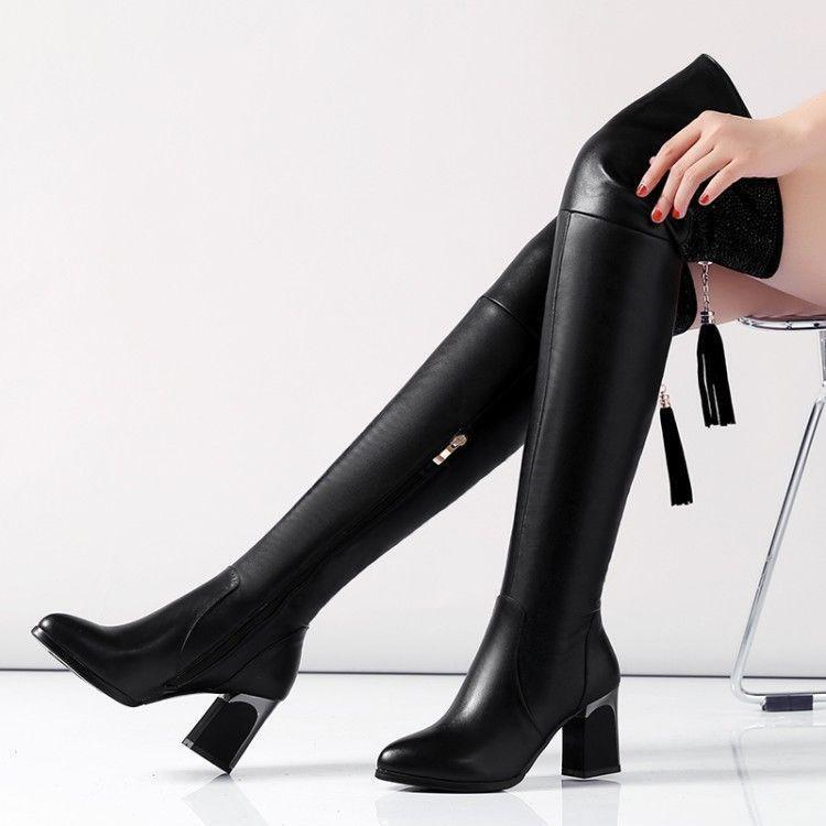 Lady Occident Fashion New Black Leather Diamante Block Heel Over Knee Boots @BT0