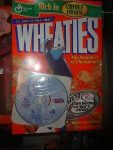 WHEATIES-SEALED-BOX-TIGER-WOODS-PGA-TOUR-2000-COMPUTER-GAME-SAMPLER-DISC