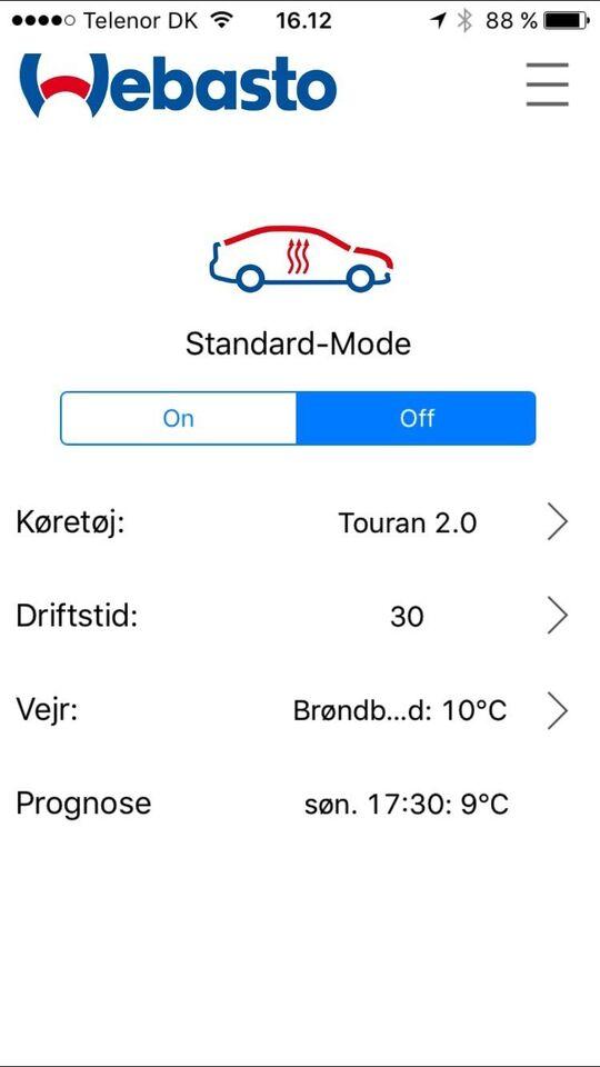 Bilvarmer, VW Touran Gsm Webasto