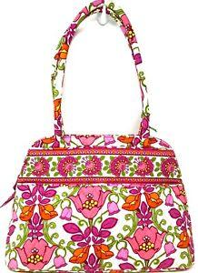 NWT-VERA-BRADLEY-Bowler-Handbag-Shoulder-Bag-in-LILLI-BELL-Pink-Green-Retired