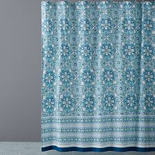 Item 4 NEW Sky Bath Accessories Zophia 100 Cotton Shower Curtain Blue Green 80 G2778