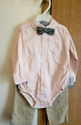 4351c7fc5e58 Baby Boy 3Pc CARTER'S Pant SET Bodysuit with Bow-Tie Pink/Tan 18 MONTHS