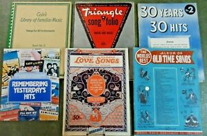 LOT-OF-6-VINTAGE-1920s-1940s-SONGBOOKS-Piano-Vocal-Ukulele-Guitar-246-Songs