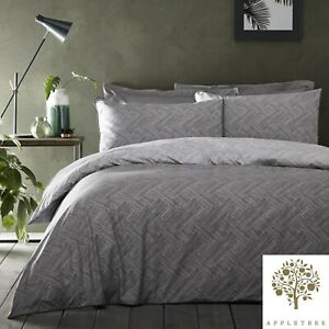 Appletree-DENTON-Grey-Duvet-Cover-Set-Geometric-Luxury-100-Cotton-Bedding-Quilt