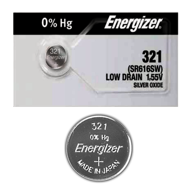 Energizer Watch Battery 321 SR616SW Silver Oxide Button Cell 1 Pc