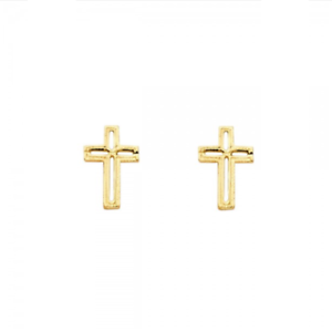 Image Is Loading 14k Solid Yellow Gold Cross Stud Earrings Crucifix